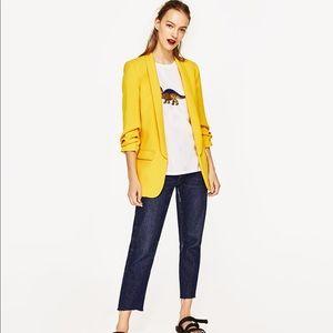 Zara Yellow Gathered Sleeve Crepe Tuxedo Blazer